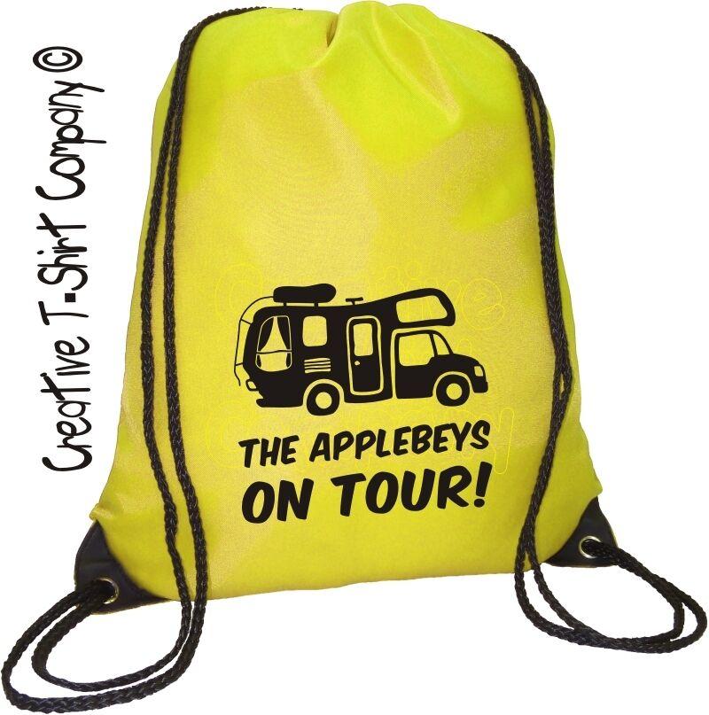Ace Campervan Camping Xmas Gift. Personalised Motorhome On Tour Drawstring Bag