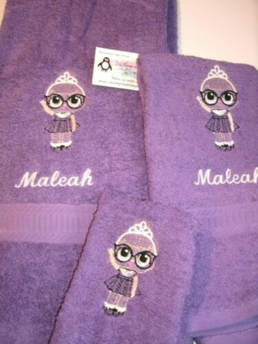 LOL Aubrey Girl sketch Personalized 3 Piece Bath Towel Set  Any Color