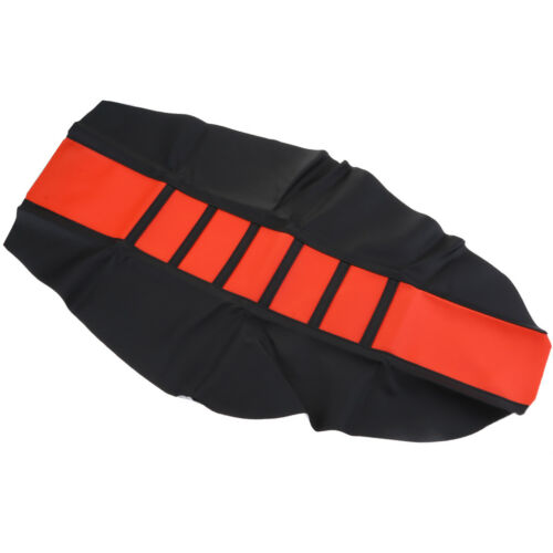 Leather Gripper Motorcycle ATV Ribbed Cushion Pad Dirt Bike Seat Cover Black