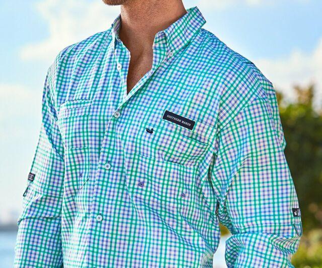 Southern Marsh Harbor Cay Long Sleeve Shirt in Antigua Blue