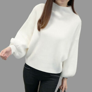 Women-Turtleneck-Batwing-Sleeve-Pullovers-Knitted-Jumper-Tops-Sweaters-AU-Stock