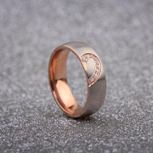 1Set Couple Rings Forever Love Heart Brushed Titanium Steel Wedding Promise Band