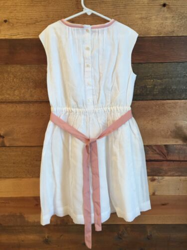 NWT CREWCUTS GIRLS ORGANDY DRESS WITH CONTRAST BOW SIZE 10 WHITE SOLD OUT $78