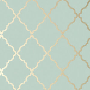 Details About Anna French Klein Trellis Wallpaper In Metallic Gold On Aqua 10m