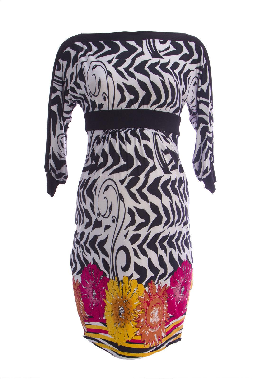 OLIAN Maternity Women's Multi Floral Print 3 4 Blouson Sleeve Dress  148 NWT