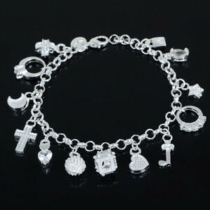 fee890942498 Das Bild wird geladen Damen-Silber-Armreif-Armkette-Kette-Armband -Anhaenger-Schmuck-
