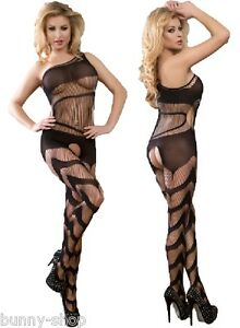Im-Schritt-offenes-Netzbody-Catsuit-Body-Stocking-Faden-Optik-Groesse-One-Size-S-M