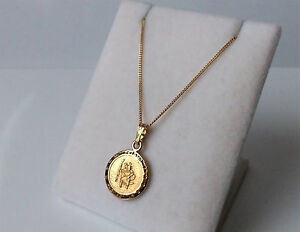 9ct gold over sterling silver st christopher pendant necklace ebay image is loading 9ct gold over sterling silver st christopher pendant aloadofball Choice Image