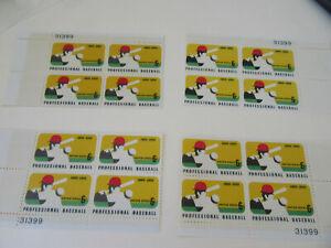 Professional Baseball 6c Stamp Sc#1381 Four Corner PB of 4 Stamps MNH (#4)