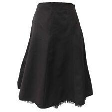 Women's Karen Millen Black 50's Style Mesh Trim Hem Full Fit Flare Skirt 12 UK