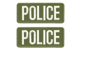 POLICE EMBROIDERY PATCH 2X5 HOOK ON BACK BLK//OD GREEN
