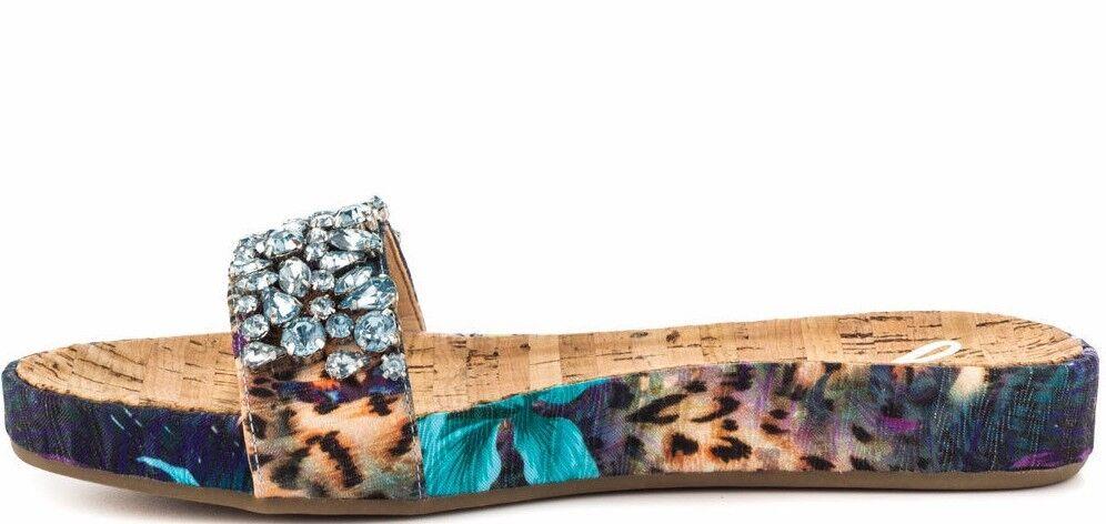 Guess Padalis Rhinestone Embellish San Blau-Multi  Floral Slide Sandale Schuhes  Blau-Multi 79 d0d5a1