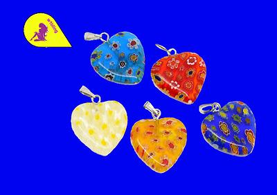 10 Millefiori Glass Lampwork Heart 20 x 20 mm (742) P & P £1 per delivery.