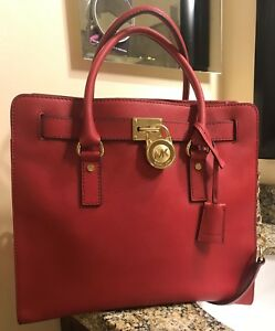 099cd3320801 Image is loading Michael-Kors-Hamilton-North-South-Large-Red-Saffiano-
