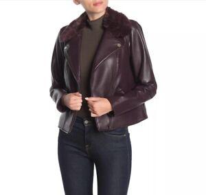 NWT-1-State-Faux-Fur-Collar-Moto-Jacket-in-Dark-Oxblood-Size-XL