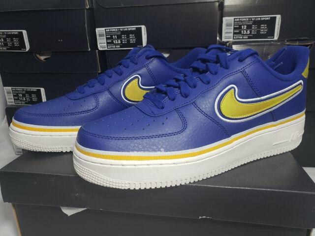 Nike Air Force 1 '07 LV8 Sport Royal Blue Gold NBA Warriors Mens Shoes AJ7748400