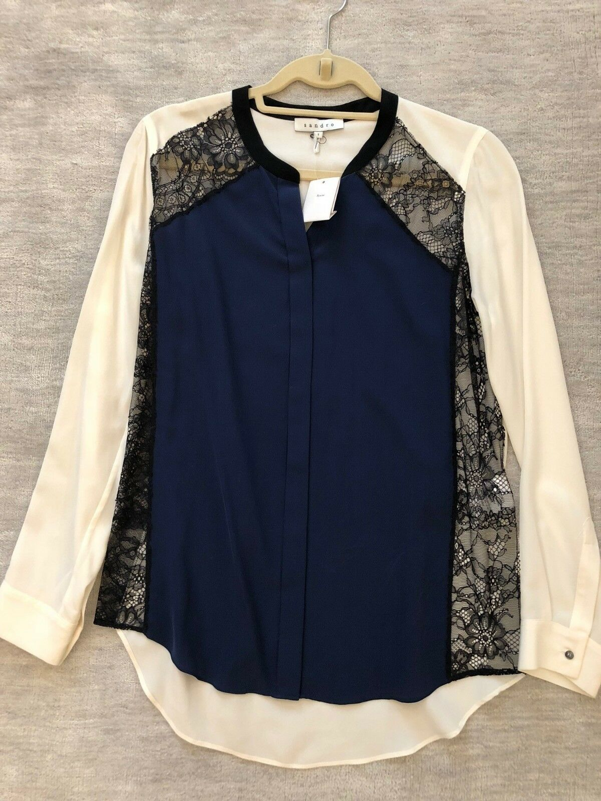 NWT Sandro Multi Farbe Silk and Lace Blouse; Größe 1=S