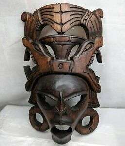 Tribal-Mask-African-Wood-Carved-Wall-Decor-Hanging-Vintage