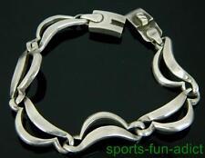 "TAXCO TT-18 Mexico Solid 925 Sterling Silver Opposing Wave Link 8 1/4"" Bracelet"