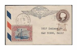 1888-Gwalior-India-Postal-Stationery-on-1930-US-First-Flight-Cover-w-US-Sc-c11