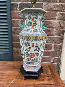 Antique Chinese Hexagon FAMILLE ROSE Porcelain Vase, Lamp. 19 C.