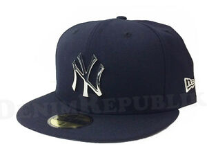 NEW YORK YANKEES METAL BADGE Silver New Era 5950 Baseball Cap Fitted ... 5e30ca2ca7b