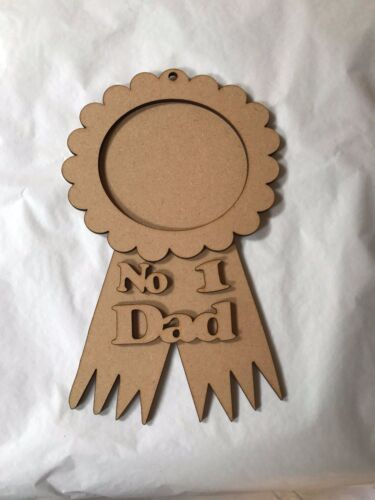 Dad rosette  place for photograph to be added laser cut craft item 200 x 120mm