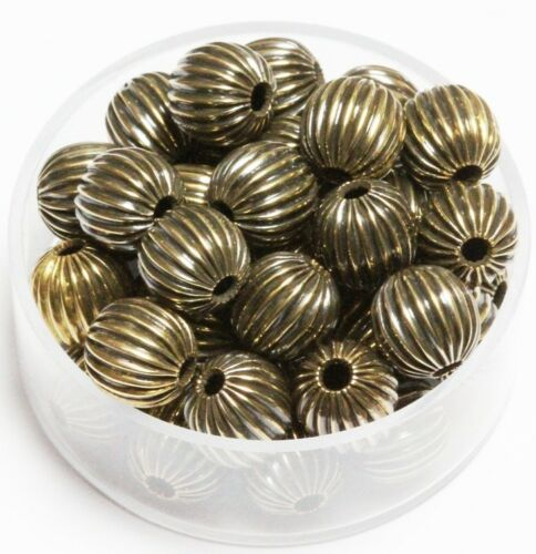 LK-A-8YC 8 MM  BRASS ANTIQUE CORRUGATED ROUND SEAMLESS  BEADS 100 PCS.