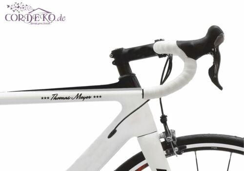 Texte/Nom + étoiles Vélo Autocollant 60 polices Bike Film Autocollant
