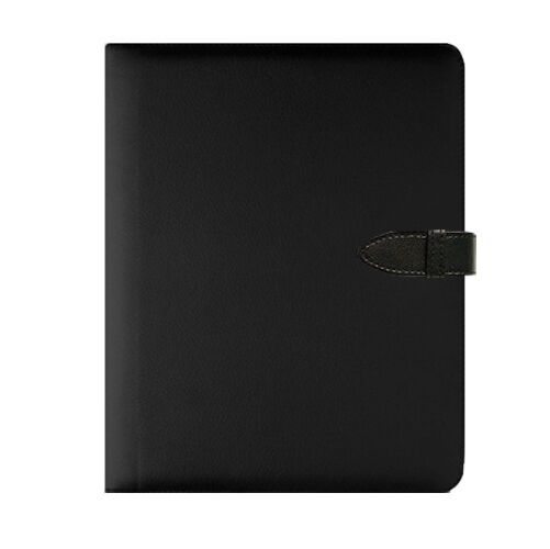 A5 Black Executive Faux Leather Conference Folder Organiser Journal With Pad