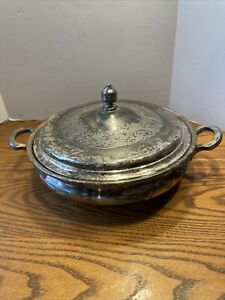 Antique Derby Silver Co Quadruple Ornate Floral Casserole Dish Enamel Server