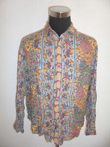vintage-AVANTI-Hemd-crazy-pattern-gemustert-Langarm-90-s-shirt-Viskose-M-L