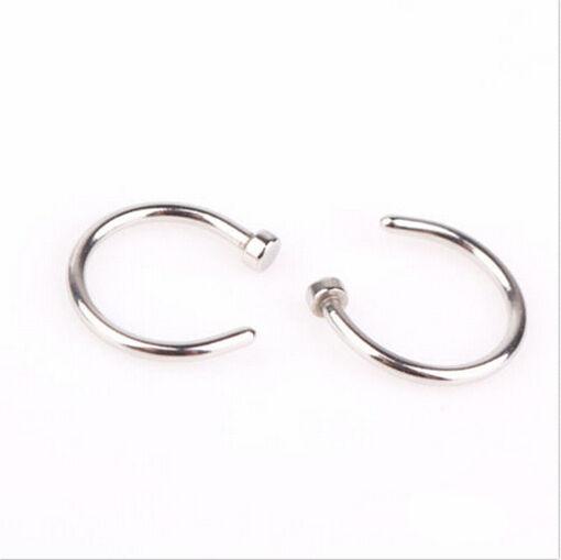 2pcs Hot Stainless Steel Nose Open Hoop Ring Earring Body Piercing Stud Jewelry
