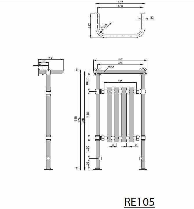 Badheizkörper 495x945 mm, 406 406 406 W, chrom / weiß  CORK RETRO 0e2c6c
