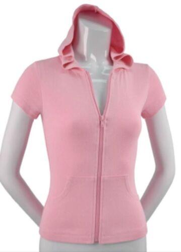Girls Hoodie 100/% Cotton Short Sleeved Hooded Zip Top Pockets Juniors CLEARANCE