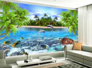 Papel Pintado Mural De Vellón Isla Dolphin De Tortuga 2 Paisaje Fondo Pansize