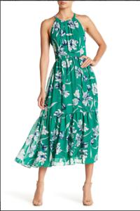 Eliza J Grün Halter Neck Floral Dress