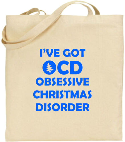I/'ve Got OCD Large Cotton Tote Shopping Bag Obsessive Christmas Disorder Gift