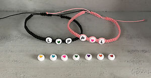DIY Armband Armkette mit Wunschnamen Namen *Rosa* Herz verschiedene Farben