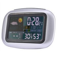 Color Digital Wireless Weather Stations Temperature Humidity Sensor Meter Clock
