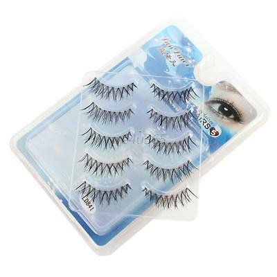5 Pairs Makeup Beauty False Eyelashes Eye Lashes Extension Long Thick Cross W45