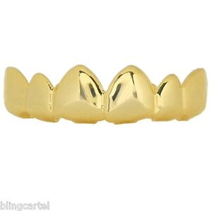 14k Gold Plated Best Grillz 6 Tooth Grills Upper Top Teeth Plain Hip Hop Grills