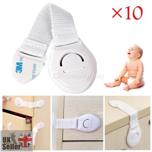 10x Bébé Enfants Protection Sécurité Serrure Bloque Fermeture Porte Tiroir Frigo