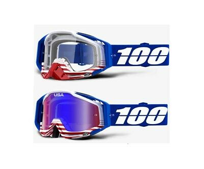 100/% RACECRAFT Goggles HOT ROD FREE PRIORITY SHIPPING Clear Lens