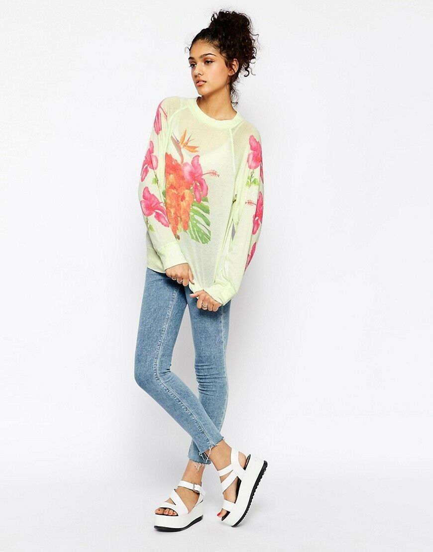 Wildfox Couture  Tropical BOUQUET  PULL IN Aigre Citron vert, taille S