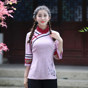 Chinese-Traditional-Blouse-Women-Linen-Shirt-Summer-Tops-Size-S-2XL