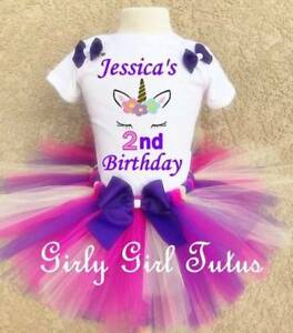 a3e164190a55 Image is loading Baby-Girl-Unicorn-Personalized-Custom-Birthday-Tutu-Outfit-