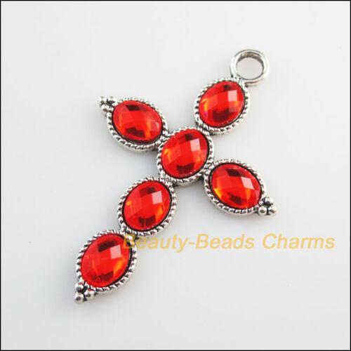 2Pc Tibetan Silver Tone Red Glass Crystal Cross Charms Pendants 41x61mm