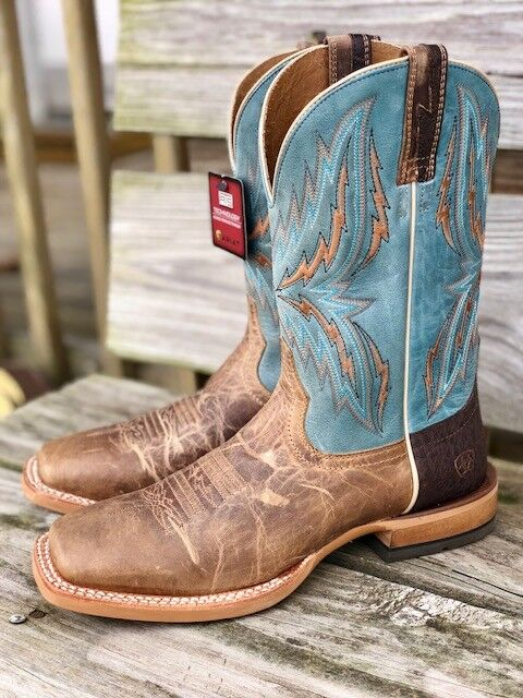 2e83efac670 Ariat Men's Wheat & Heritage Blue Rebound Square Toe Western Boots 10021679