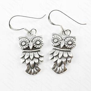 Image Is Loading Sterling Silver Owl Earrings Dangle Oxidized